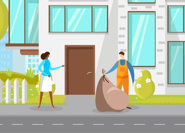 Immondizia che raccoglie rifiuti urbani in un sacchetto di plastica Vettore Premium