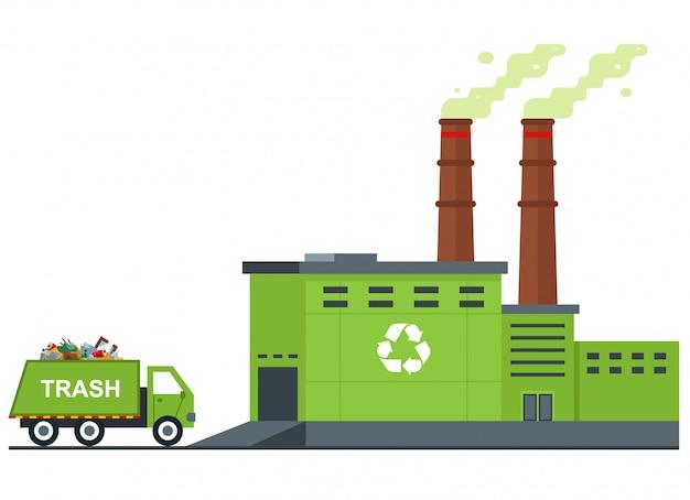 Impianto di trattamento dei rifiuti. Vettore Premium