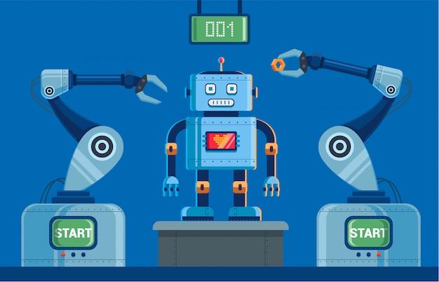 Impianto per la produzione di robot con artigli Vettore Premium
