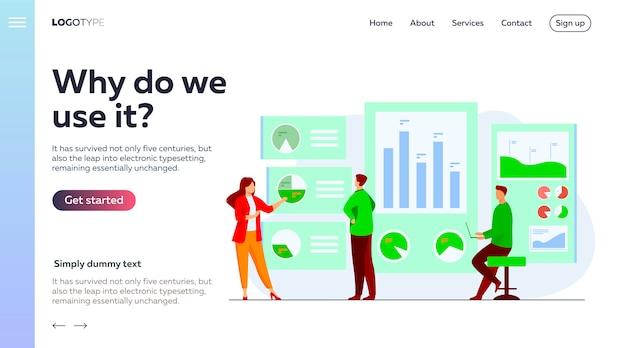 Impiegati che analizzano e ricercano il modello della pagina di destinazione dei dati aziendali Vettore gratuito