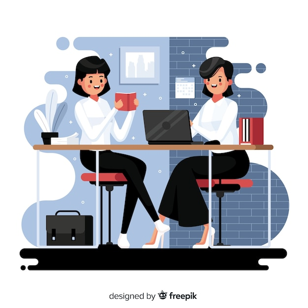 Impiegati seduti alle scrivanie Vettore gratuito