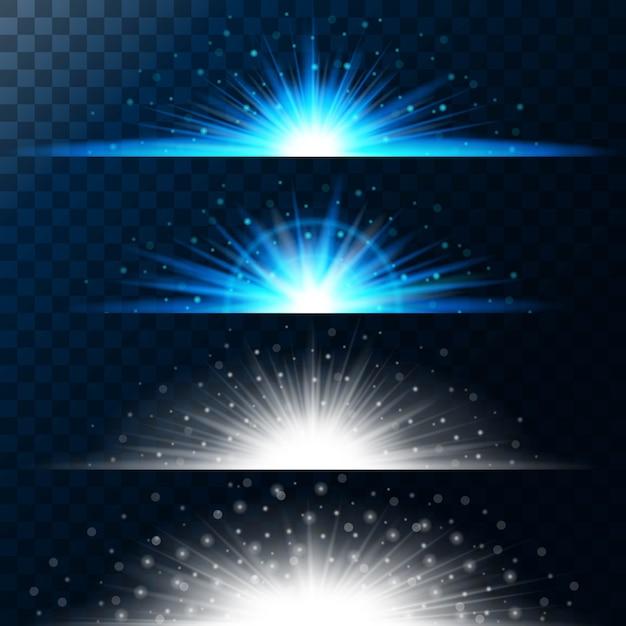 Imposta effetti di luce realistici. stella luminosa. luce e glitter. brillante bordo magico di palline gialle. Vettore Premium