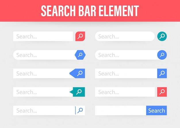 Imposta elemento della barra di ricerca, set di template ui caselle di ricerca Vettore Premium