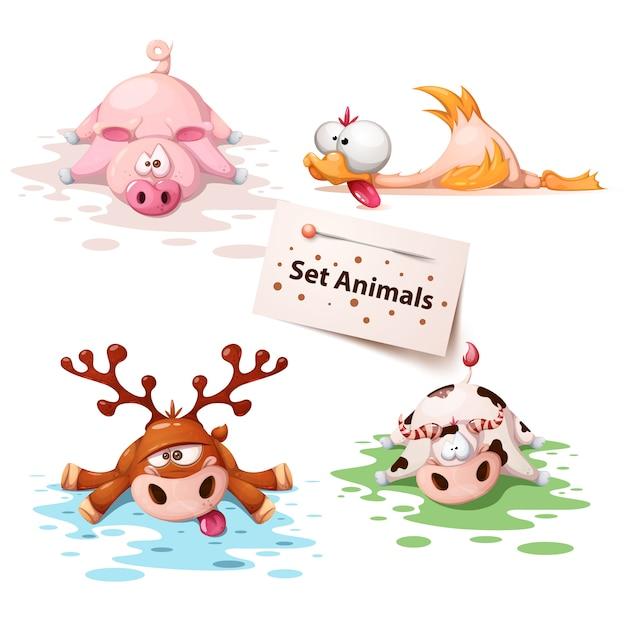 Imposta gli animali del sonno Vettore Premium