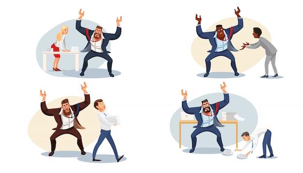 Imposta il capo aggressivo che urla ai subordinati Vettore Premium