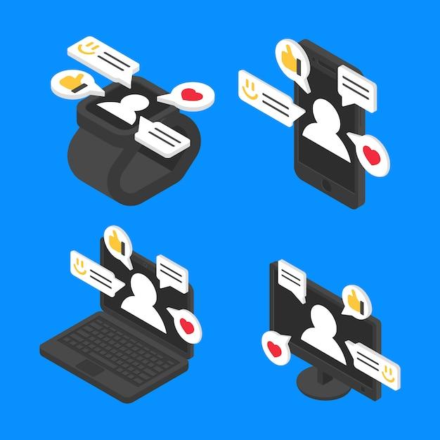 Imposta il concetto di chat messaggio isometrico. progettazione di internet di comunicazione sociale di vettore Vettore Premium