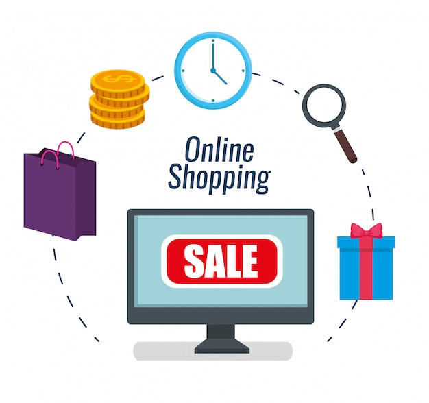 Imposta l'e-commerce del computer per lo shopping online Vettore gratuito