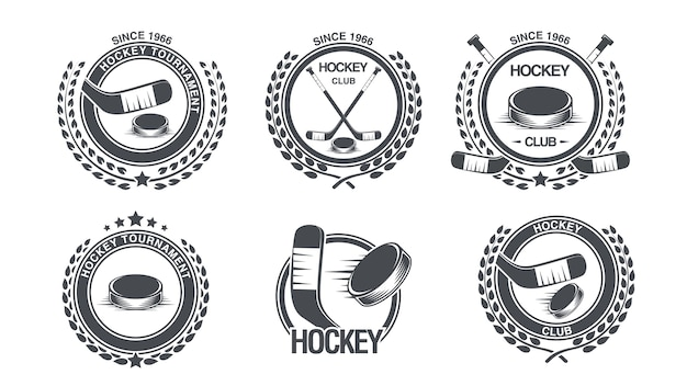 Imposta l'icona dell'hockey Vettore Premium