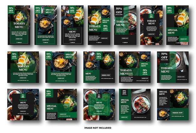 Imposta la storia di instagram, modello di social media post per la promozione degli alimenti Vettore Premium