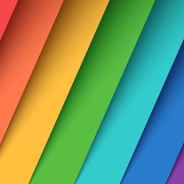 Imposta sette carte a colori. arcobaleno. Vettore Premium
