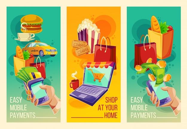 Impostare banner vettoriali che mostrano la facilità e la convenienza dei pagamenti online nello stile dei cartoni animati Vettore gratuito