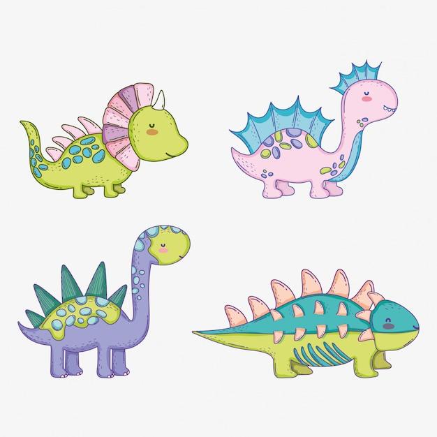 Impostare carino styracosaurus Vettore Premium