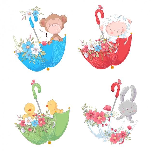 Impostare cartoon simpatici animali scimmia, polli di pecora e coniglietto in ombrelli con fiori Vettore Premium