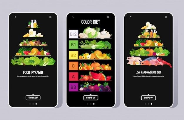 Impostare cibo bevanda piramide mangiare arcobaleno diverso organico frutta erbe verdure pesce carne prodotti raccolta vitamine infografica poster colore dieta concetto mobile app orizzontale Vettore Premium