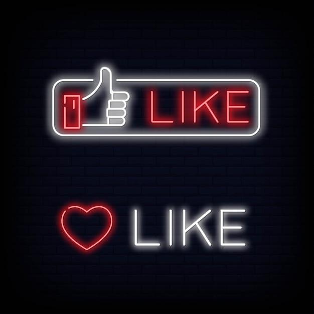 Impostare come simbolo e testo di segno al neon. pollice su. facebook mi piace Vettore Premium