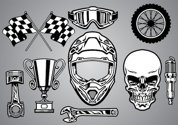Impostare corse di motocross con teschio Vettore Premium