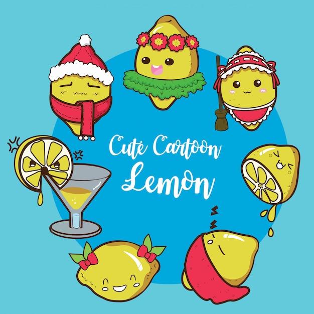 Impostare cute lemon cartoon charracter. Vettore Premium