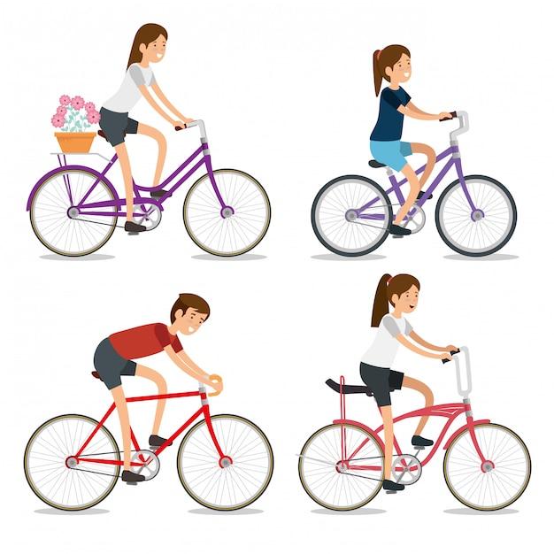 Impostare donne e uomo in sella a una bicicletta Vettore gratuito