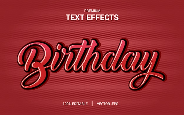 Impostare effetto di carattere modificabile in stile di testo astratto compleanno rosa viola rosso astratto Vettore Premium