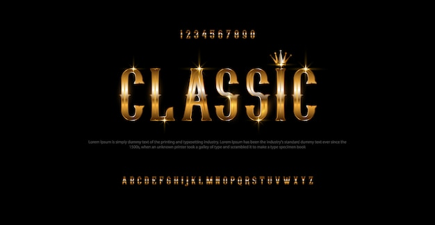 Impostare elegante carattere alfabeto color oro Vettore Premium