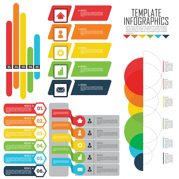 Impostare elementi per infografica Vettore Premium