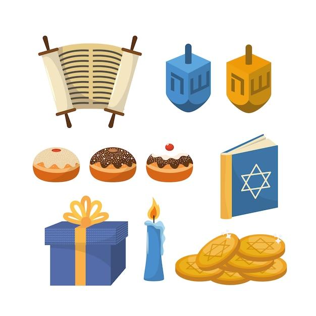 Impostare felice celebrazione della religione hanukkah Vettore Premium