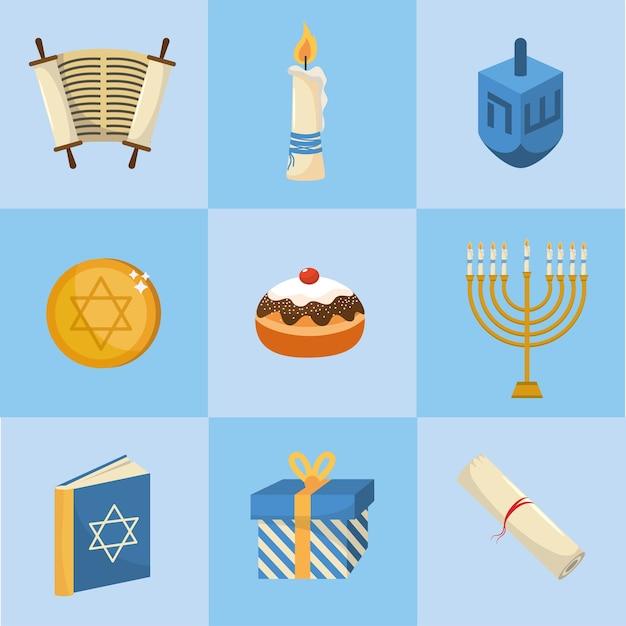 Impostare felice decorazione hanukkah alla religione di tradizione Vettore Premium
