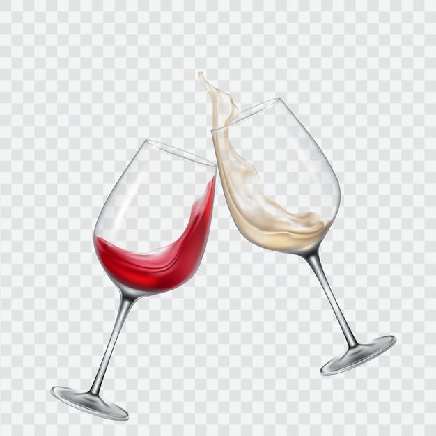 Impostare gli occhiali trasparenti con vino bianco e rosso Vettore gratuito