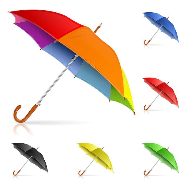 Impostare gli ombrelli Vettore Premium
