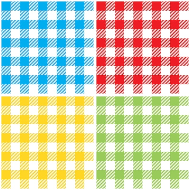 Impostare i colori a scacchi tovaglia seamless pattern Vettore Premium