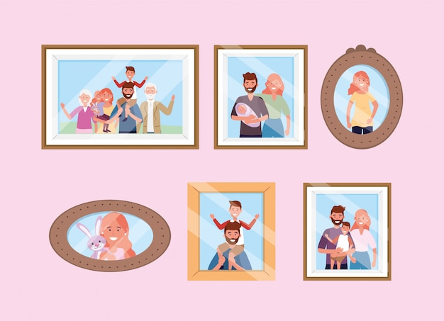 Impostare i ricordi di foto di famiglia felice Vettore gratuito