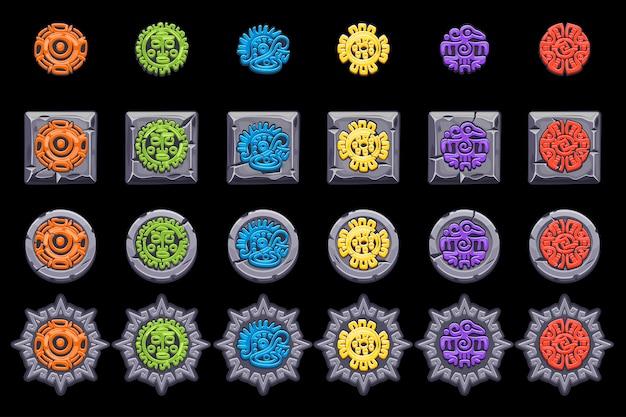 Impostare i simboli della mitologia messicana antica. totem nativo azteco americano, cultura maya. icone. Vettore Premium