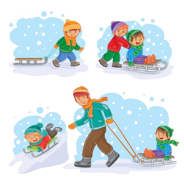 Impostare icone invernali con bambini piccoli Vettore gratuito