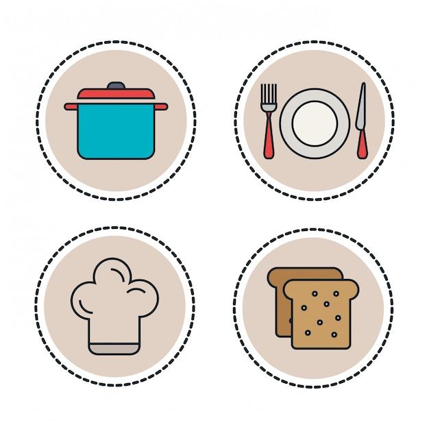 Impostare icone linea cibo e utensili Vettore Premium