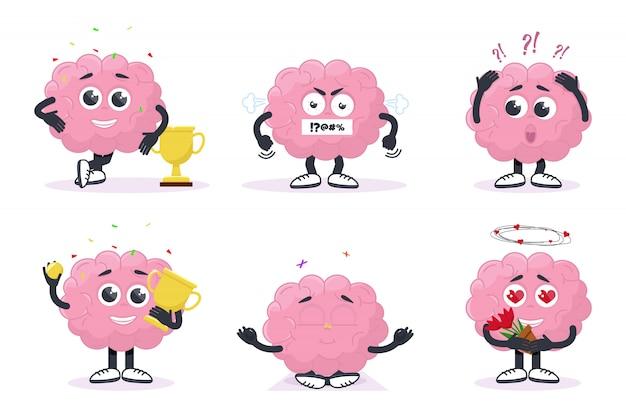 Impostare il cervello creativo sta mostrando emozioni Vettore Premium