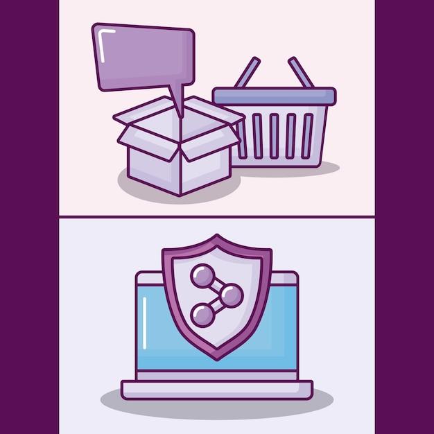 Impostare il computer portatile con icone di affari elettronici Vettore gratuito