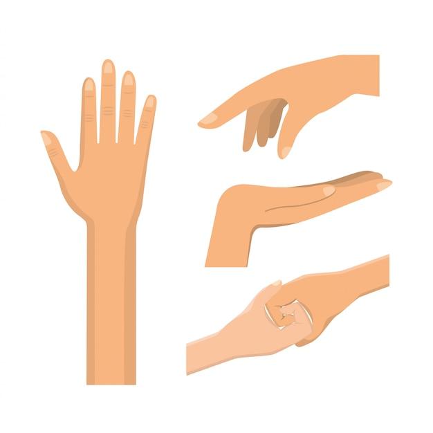 Impostare il gesto delle mani con le unghie e le dita Vettore Premium