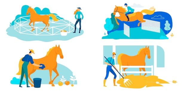 Impostare il lavoro su allevamento di cavalli, cura e formazione dei cartoni animati. Vettore Premium