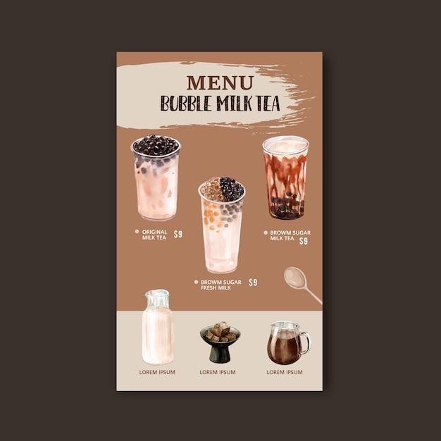 Impostare il menu del tè al latte con bolle di zucchero di canna, vintage di contenuto dell'annuncio, illustrazione dell'acquerello Vettore gratuito
