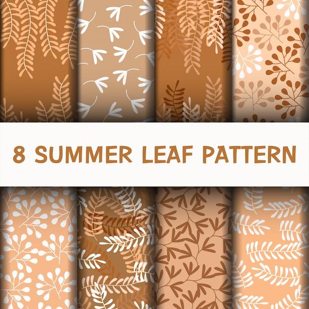 Impostare il modello di foglie belle Vettore Premium