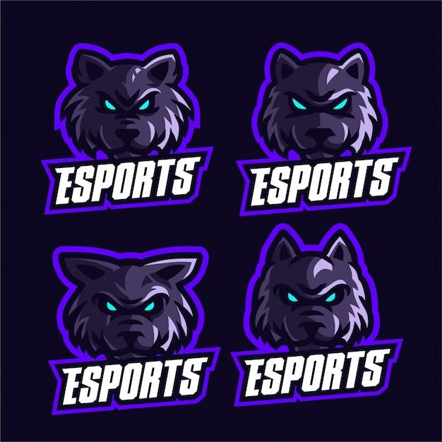 Impostare il modello di logo esports lupi Vettore Premium