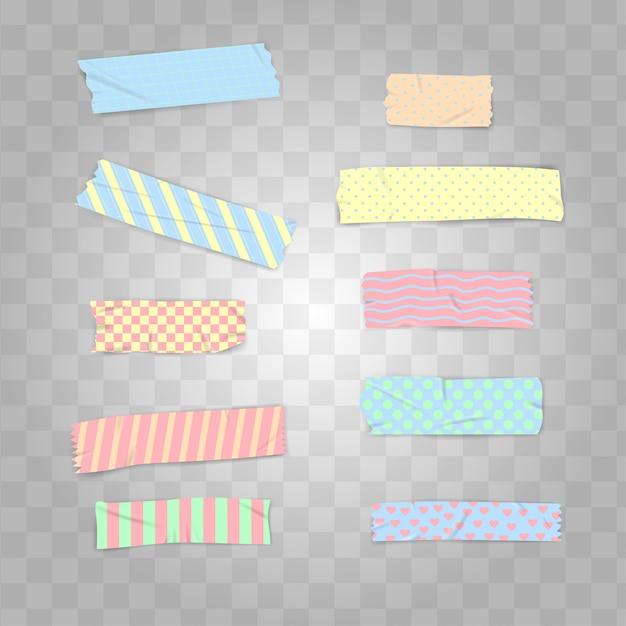 Impostare il nastro washi realistico color pastello Vettore Premium