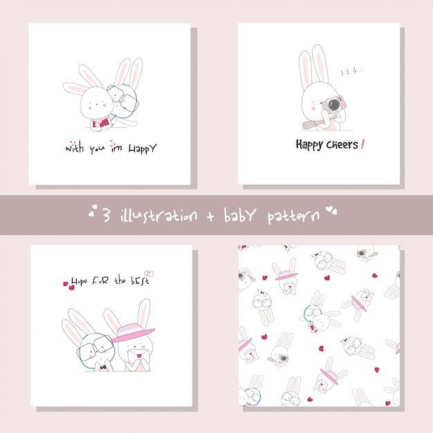 Impostare il personaggio dei cartoni animati coniglietto carino. vettore animale disegnato a mano Vettore Premium