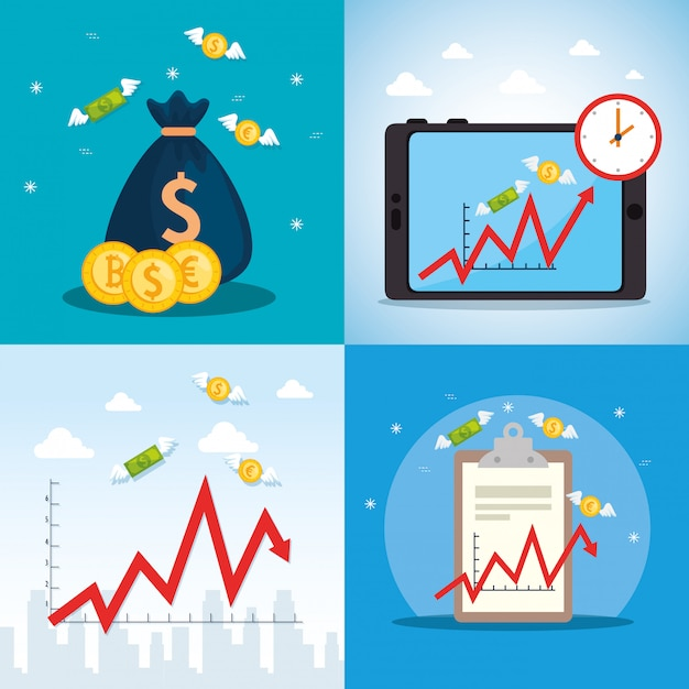 Impostare il poster del crollo del mercato azionario con icone Vettore gratuito