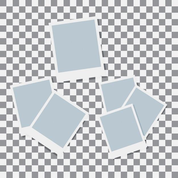 Impostare il vettore di carta polaroid Vettore Premium