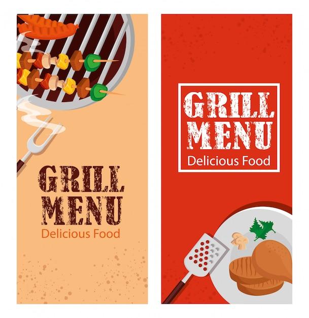 Impostare il volantino del menu grill con cibo delizioso Vettore gratuito