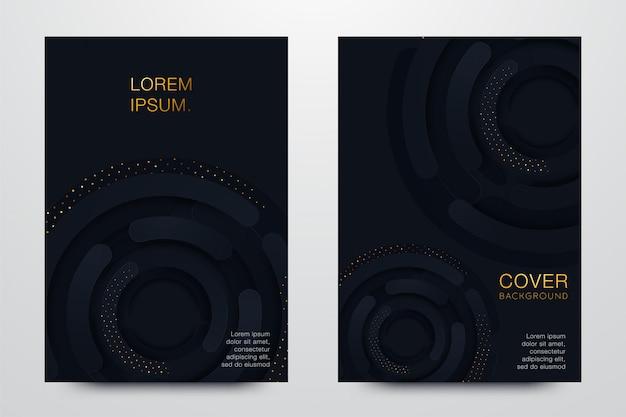 Impostare illustrazione copertina nera Vettore Premium
