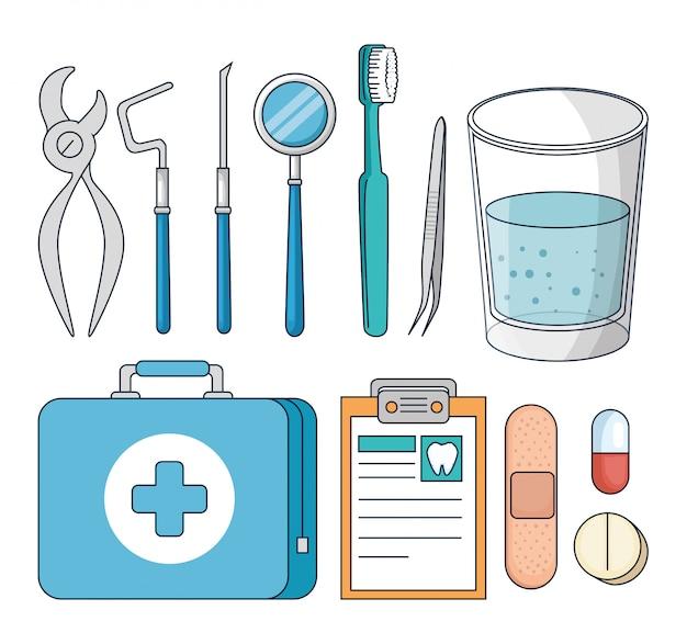 Impostare l'attrezzatura per i denti sul trattamento di medicina odontoiatrica Vettore gratuito