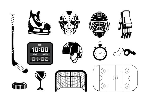 Impostare l'hockey con attrezzature professionali per giocare Vettore Premium
