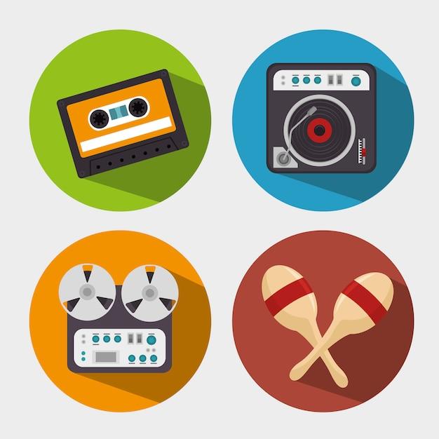 Impostare l'icona isolata dispositivi dell'industria musicale Vettore gratuito